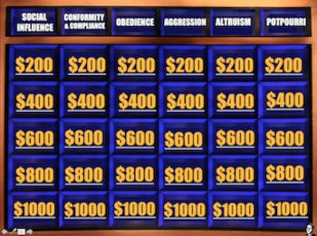 End of the Year Review for Social Psychology - Psycho Jeopardy!(Psychology)
