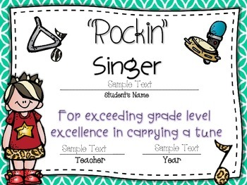 Awards ~ {EDITABLE!} End of the Year Rockin' Certificates