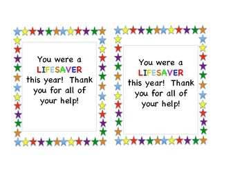 End of the Year Room Parent and Classroom Aide Gift Tags