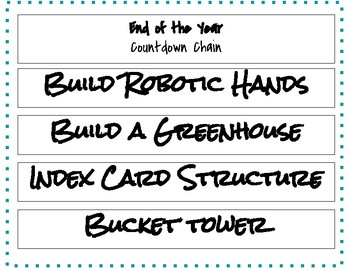 End of the Year STEM Challenge Countdown- 25 days
