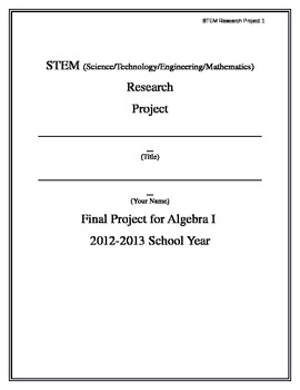 End of the Year STEM Research Project