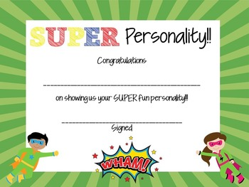 End of the Year SUPER-hero Awards!  ~EDITABLE!!~
