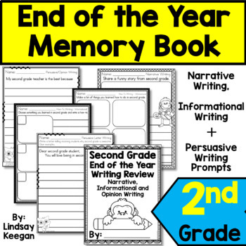 End of the Year Second Grade Writing Review Memory Book