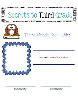 End of the Year: Secrets to Third Grade Activity Book