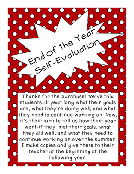 End of the Year Self-Evaluation/Reflection