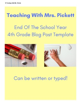 End of the Year Social Studies Blog Post Activity