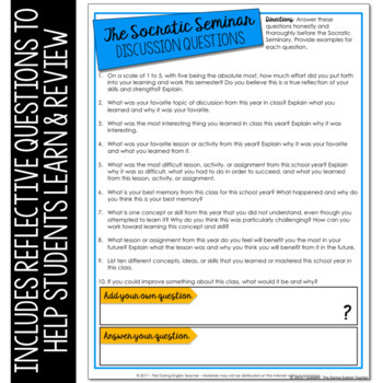 End of the Year Socratic Seminar Activity and Class Review