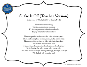 End of the Year Song Lyrics for Shake It Off