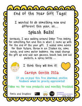 End of the Year Splash Gift Labels