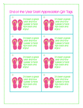 End of the Year Staff Appreciation Sandal Gift Tag Printable