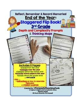 End of the Year Staggered Flip Book - 3rd Grade {Graphic Organizers} {D&C Icons}
