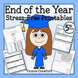 End of the Year NO PREP Printables - Fifth Grade Distance Learning