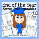 End of the Year NO PREP Printables - First Grade Distance Learning