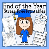 End of the Year NO PREP Printables - Third Grade Distance Learning