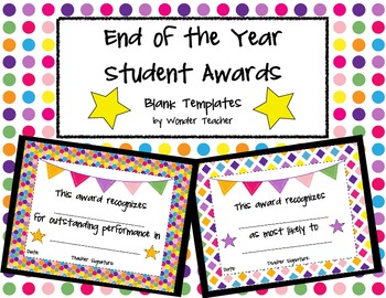 End of the year student award templates by wonder teacher tpt end of the year student award templates yadclub Image collections