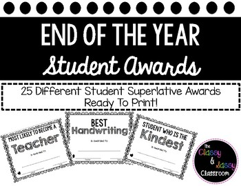 End of the Year Student Awards Black and White Ready To Print