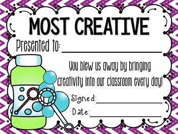 End of the Year Student Awards EDITABLE {Bubble Theme}