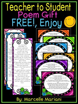 End of the Year Student Book Mark Poem Gift- From Teacher