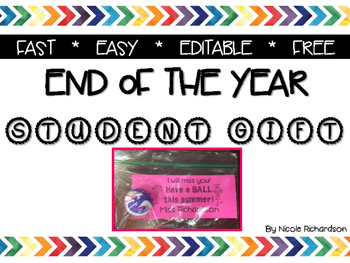 End of the Year Student Gift~FREEBIE!