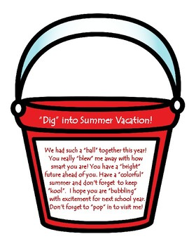 End of the Year Student Gift Tag - Summer Bucket