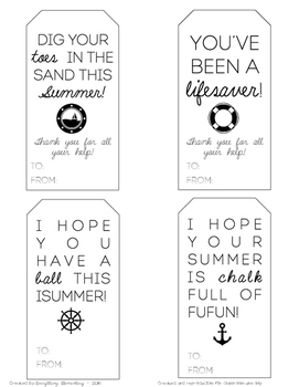 End of the Year Student & Parent Gift Tags (Chalk, Ball, Nail polish, Lifesaver)