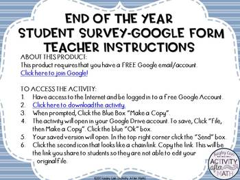 EDITABLE End of the Year Student Survey GOOGLE Form Gain Valuable Feedback
