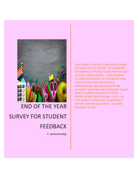 End of the Year Student Survey/Reflection for Student Feed