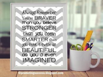 Gray Chevron Classroom Decor Poster, Inspirational Quote