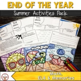 End of the Year Summer Activities- ELA, Math & More