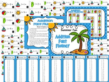 End of the Year Addition Fluency Game, Timed Tests, and Summer Practice