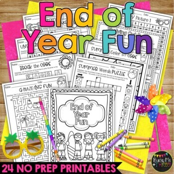 End of the Year Summer Fun BUNDLE, Worksheets, Bingo, Games, & Coloring Sheets