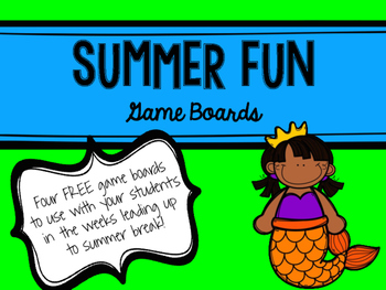 End of the Year Summer Fun Game Boards FREE