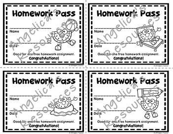End of the Year : Summer Fun Homework Pass - Incentive Reward Coupon