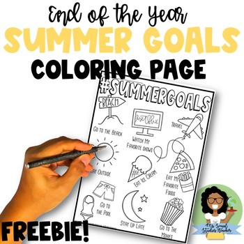 End of the Year Summer Goals Coloring Page