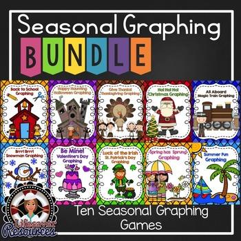 Seasonal Graphing Bundle Back to School, Halloween, Christ