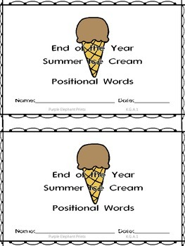 End of the Year Summer Positional Words Booklet