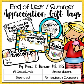 End of the Year: Summer Themed Appreciation Gift Tags