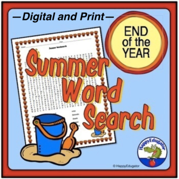 End of the Year  Activity - Summer Word Search