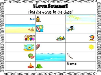 End of the Year Summer Write the Room Activity
