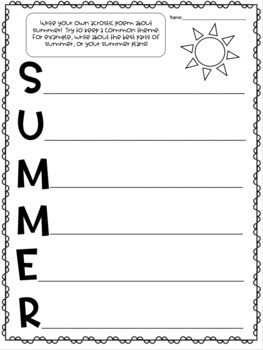 End of the Year / Summer themed activity bundle. Summer packet