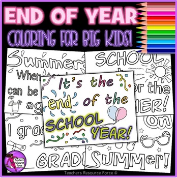 End of the Year Quote Coloring Pages Sheets