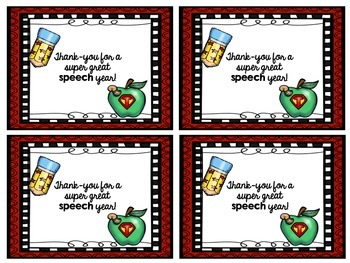 {{End of the Year}} Super Speech Thank-You Notes FREEBIE!!!