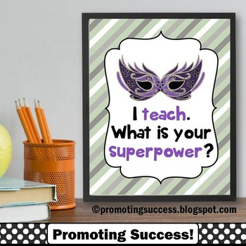 End of the Year Teacher Thank You Appreciation Gift, Superpower Sign