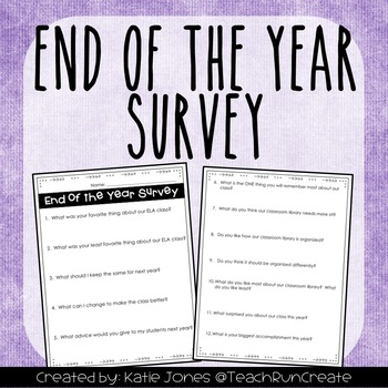 End of the Year Survey EDITABLE