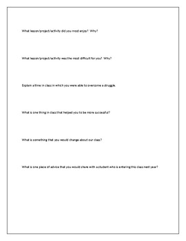 End of the Year Survey *Editable*