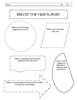 End of the Year Survey (Student Reflection)
