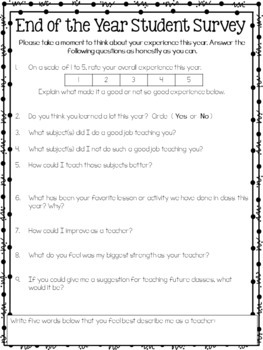 End of the Year Surveys {Parents and Students} Upper Elementary