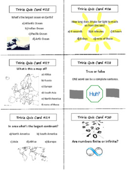 End of the Year Task Cards with Lesson Plan - Trivia - 36 Cards (5-9)