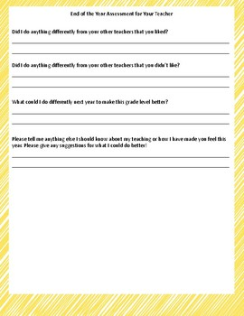 End of the Year Teacher Assessment