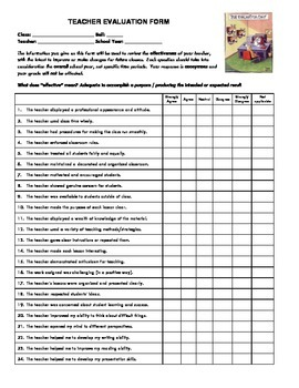 End-of-the-Year Teacher Evaluation Form - Secondary Students
